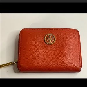 Orange Tory Burch Robinson Wallet with Key Ring